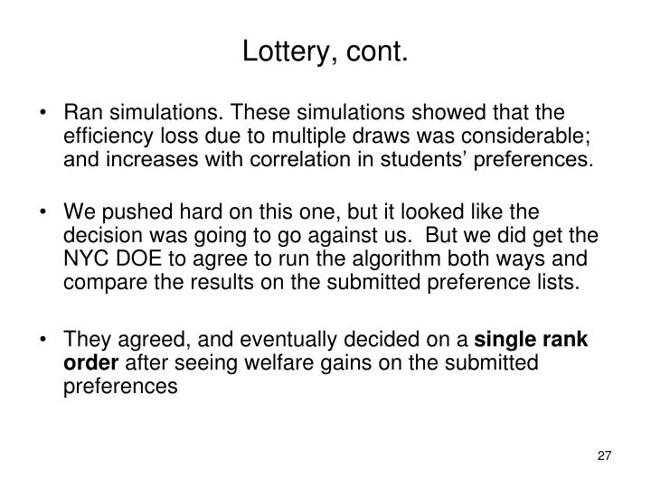 Lottery, cont.