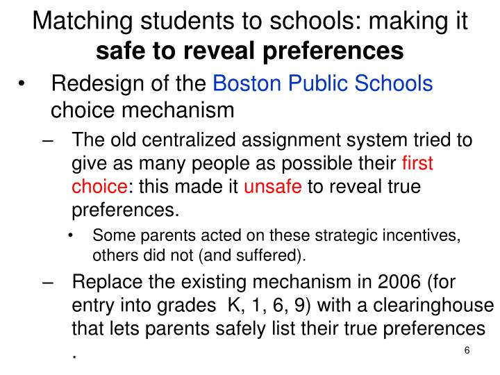 Matching students to schools: making it
