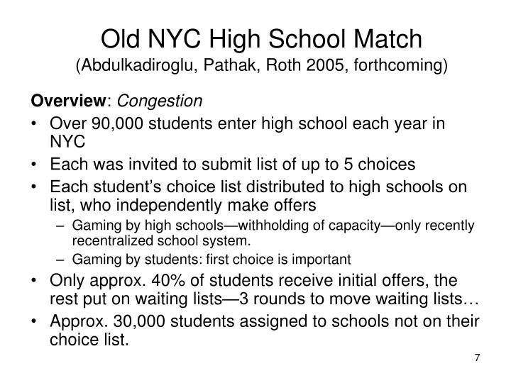 Old NYC High School Match