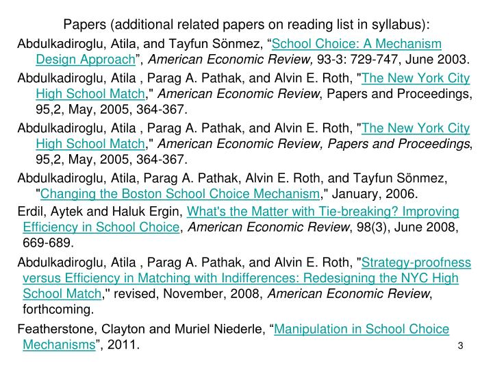 Papers additional related papers on reading list in syllabus