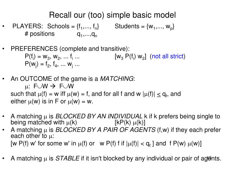 Recall our (too) simple basic model