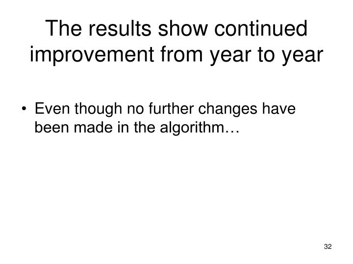 The results show continued improvement from year to year