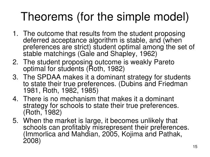 Theorems (for the simple model)
