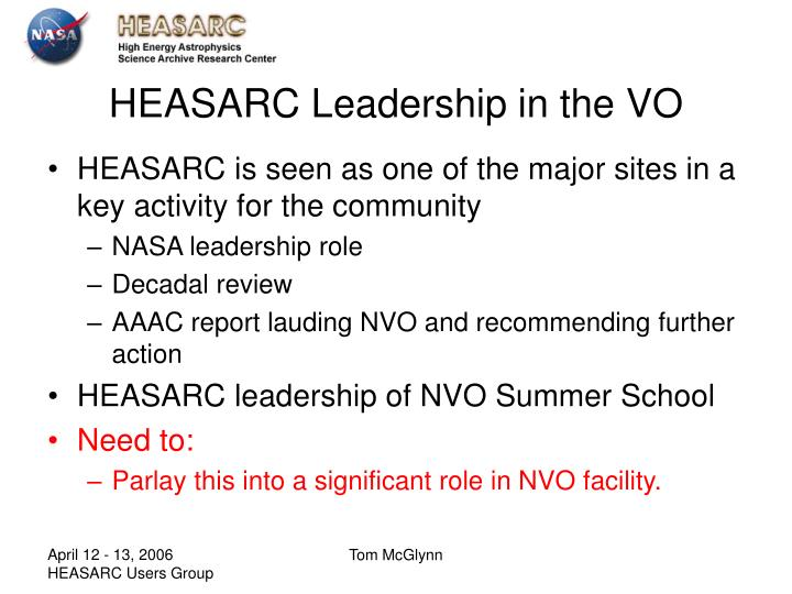 HEASARC Leadership in the VO