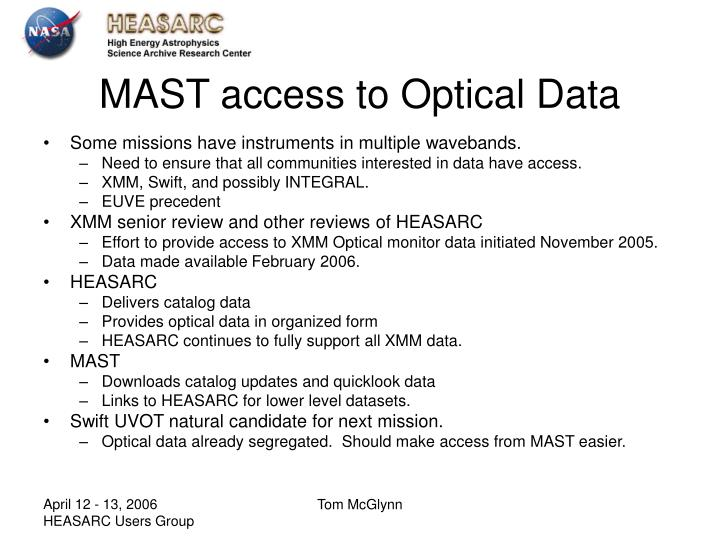Mast access to optical data