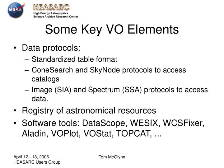 Some Key VO Elements