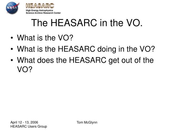 The HEASARC in the VO.