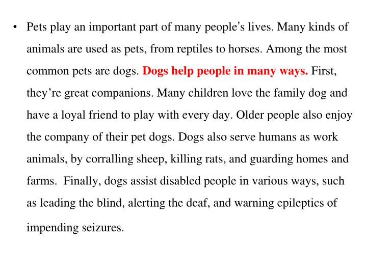 Pets play an important part of many people