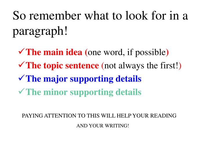 So remember what to look for in a paragraph!