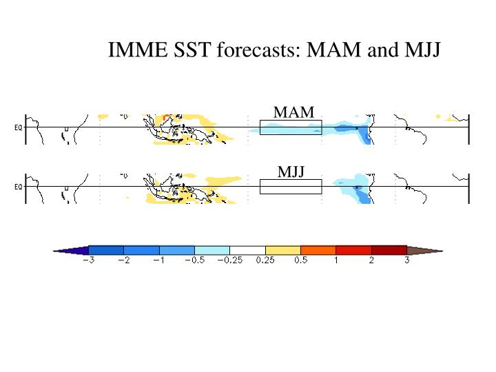 IMME SST forecasts: MAM and MJJ