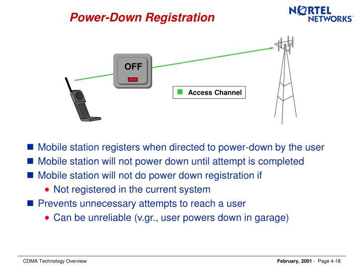 Power-Down Registration