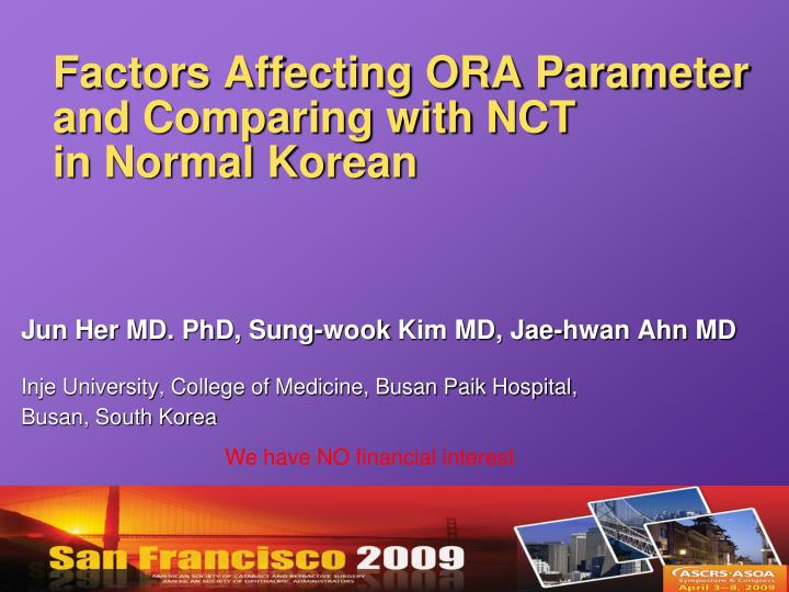 factors affecting ora parameter and comparing with nct in normal korean