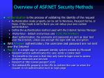 overview of asp net security methods