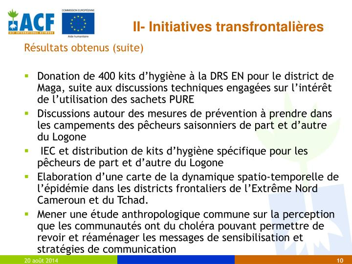 II- Initiatives transfrontalières