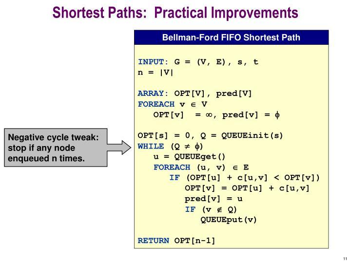 Shortest Paths:  Practical Improvements