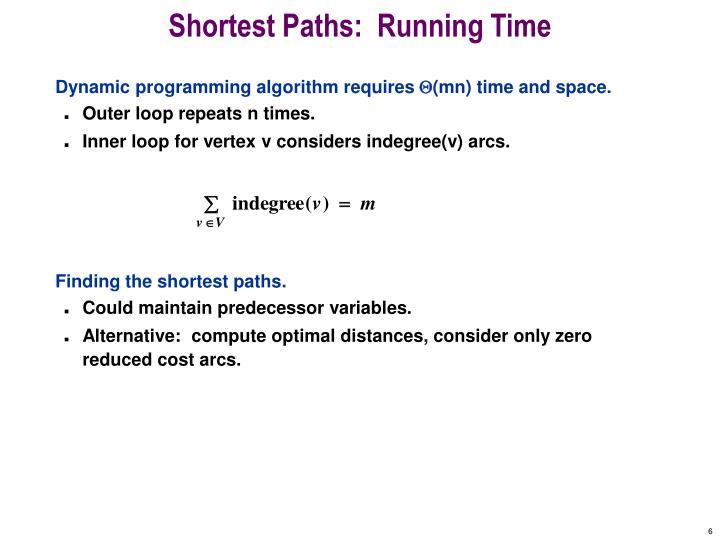 Shortest Paths:  Running Time