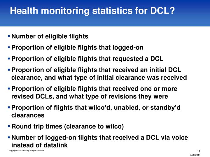 Health monitoring statistics for DCL?