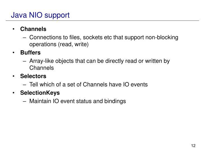 Java NIO support