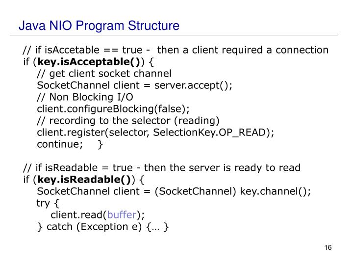 Java NIO Program Structure