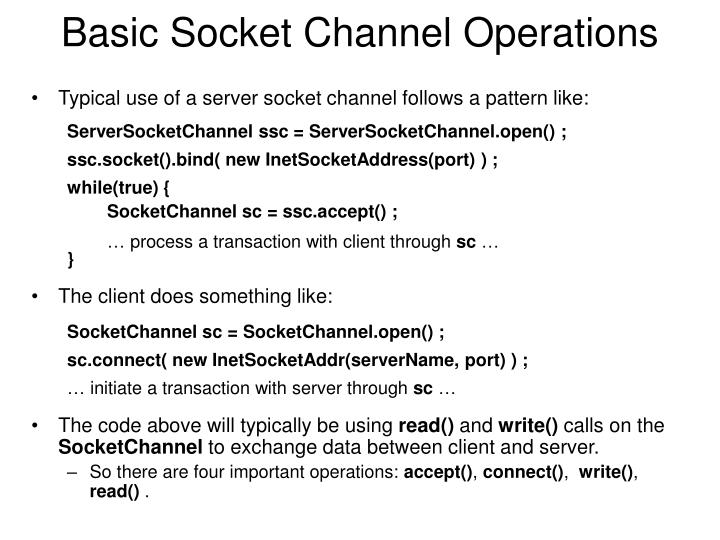Basic Socket Channel Operations