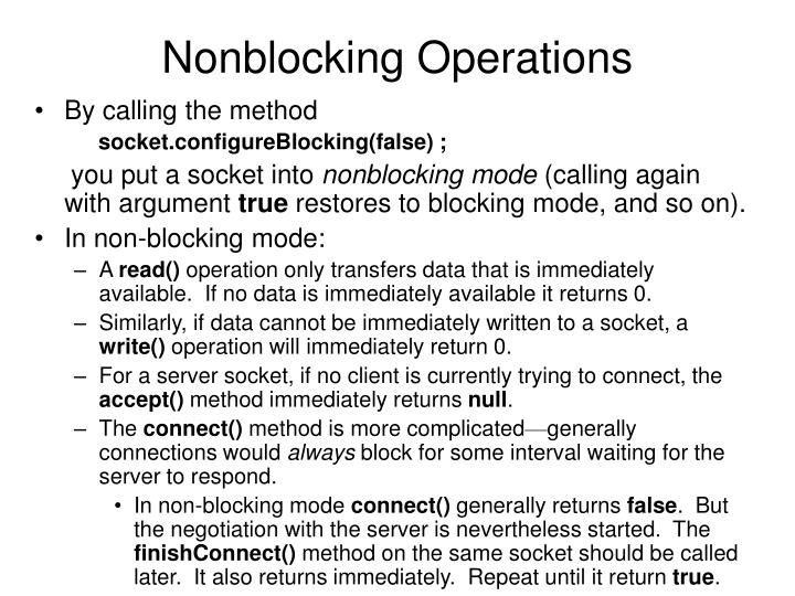 Nonblocking Operations