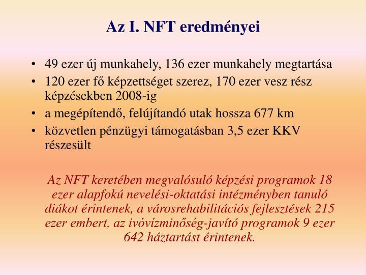 Az I. NFT eredményei
