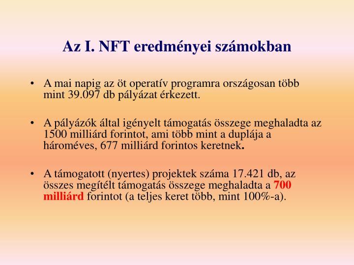 Az I. NFT eredményei számokban