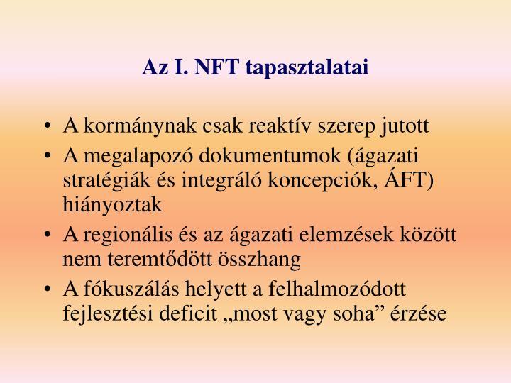 Az I. NFT tapasztalatai