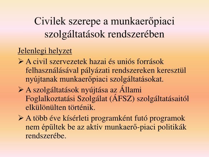 Civilek szerepe a munkaerőpiaci szolgáltatások rendszerében