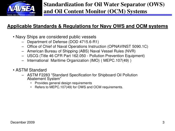 Applicable standards regulations for navy ows and ocm systems
