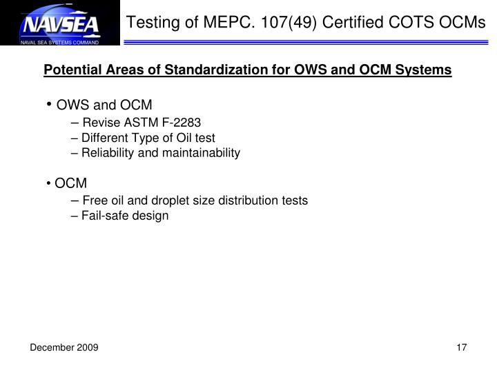 Potential Areas of Standardization for OWS and OCM Systems