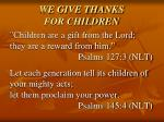 we give thanks for children