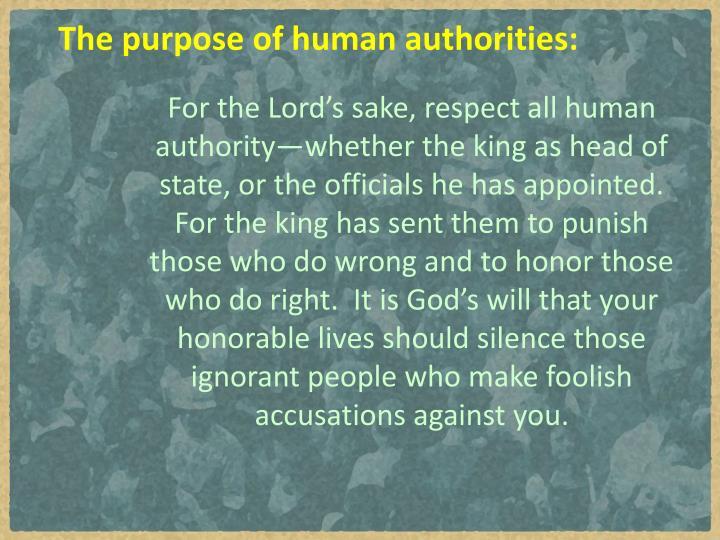 The purpose of human authorities: