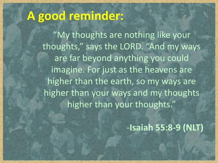 A good reminder: