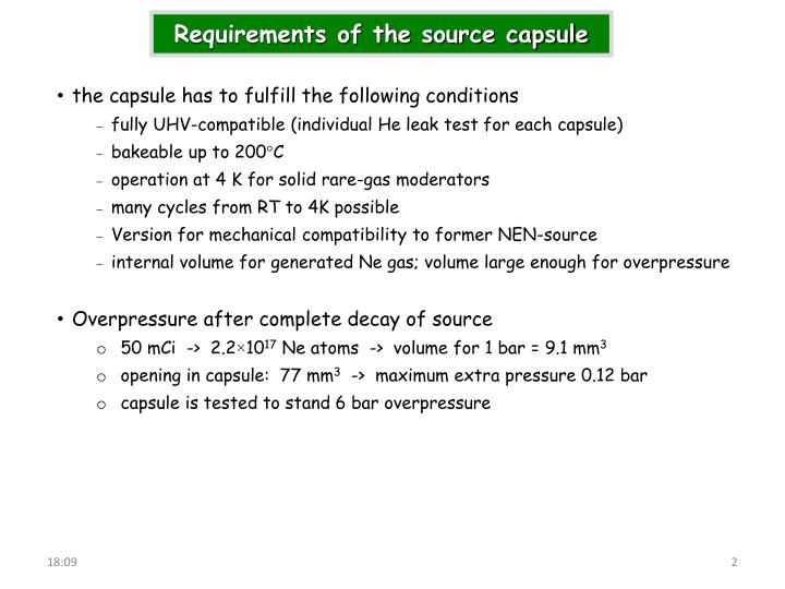 Requirements of the source capsule