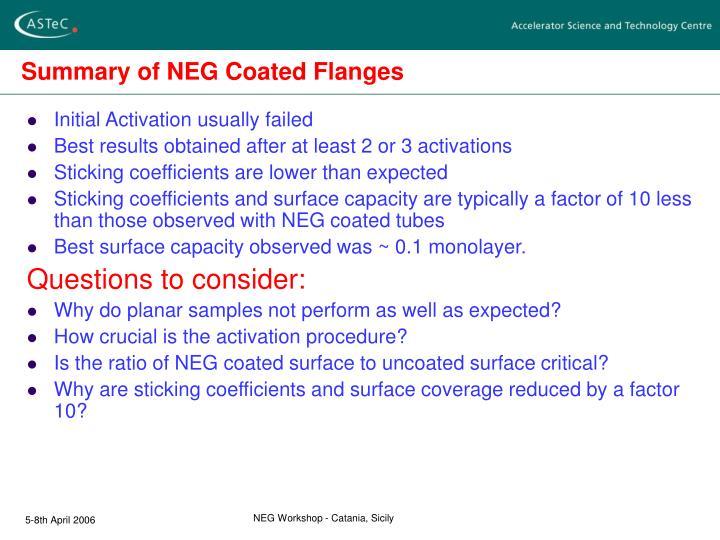Summary of NEG Coated Flanges