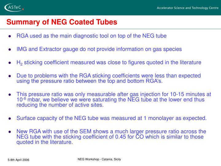 Summary of NEG Coated Tubes