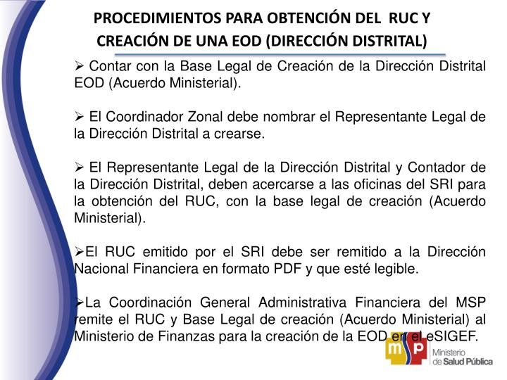 PROCEDIMIENTOS PARA OBTENCIÓN DEL  RUC Y CREACIÓN DE UNA EOD (DIRECCIÓN DISTRITAL)