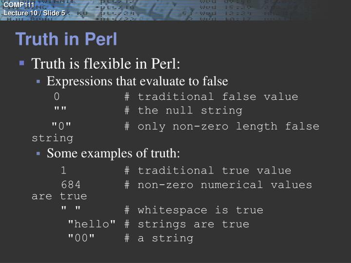 Truth in Perl