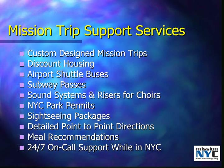Mission Trip Support Services
