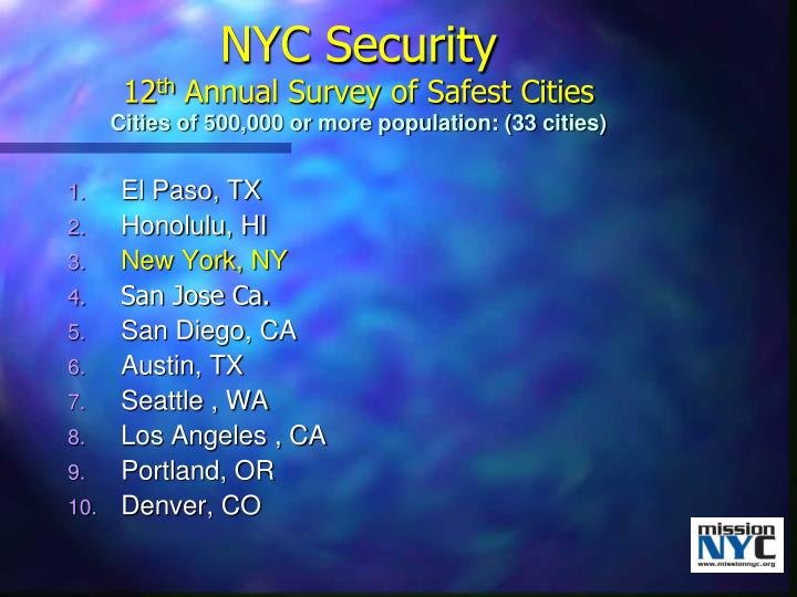 Nyc security 12 th annual survey of safest cities cities of 500 000 or more population 33 cities