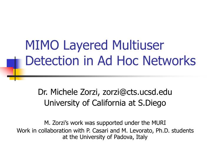 mimo layered multiuser detection in ad hoc networks n.