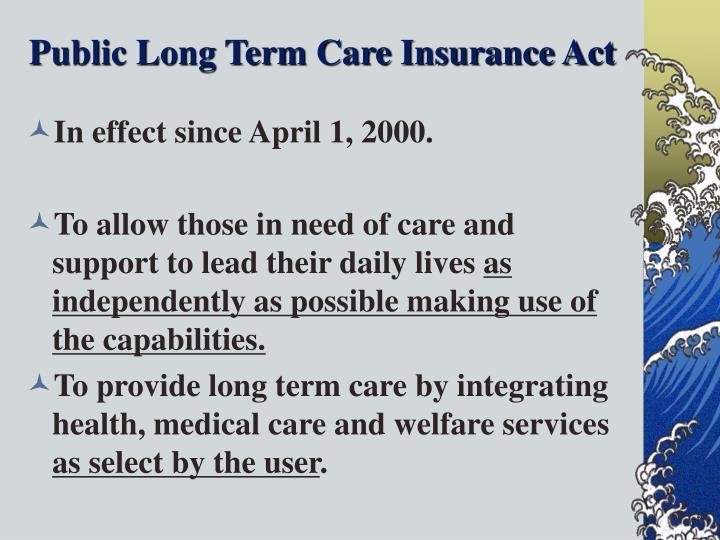 Public Long Term Care Insurance Act
