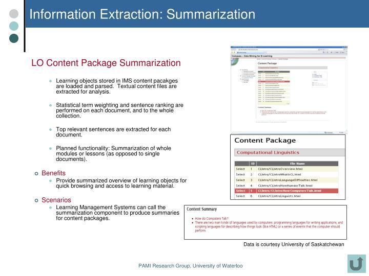 Information Extraction: Summarization