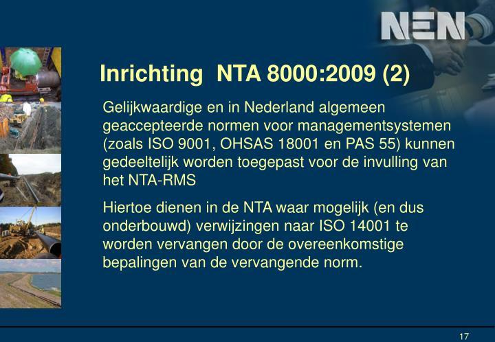 Inrichting  NTA 8000:2009 (2)