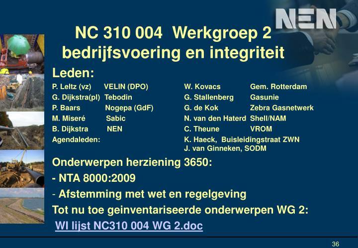 NC 310 004  Werkgroep 2