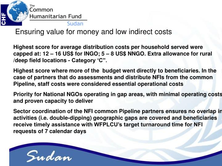 Ensuring value for money and low indirect costs