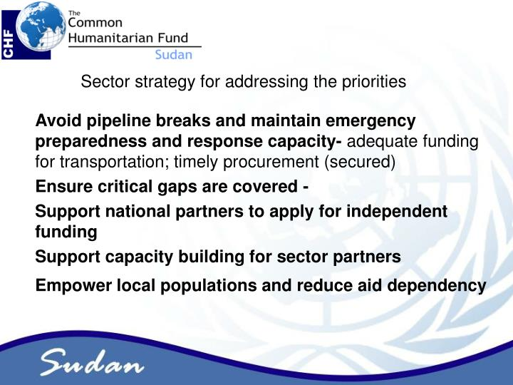 Sector strategy for addressing the priorities
