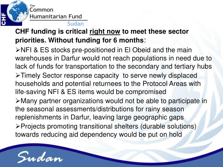 CHF funding is critical