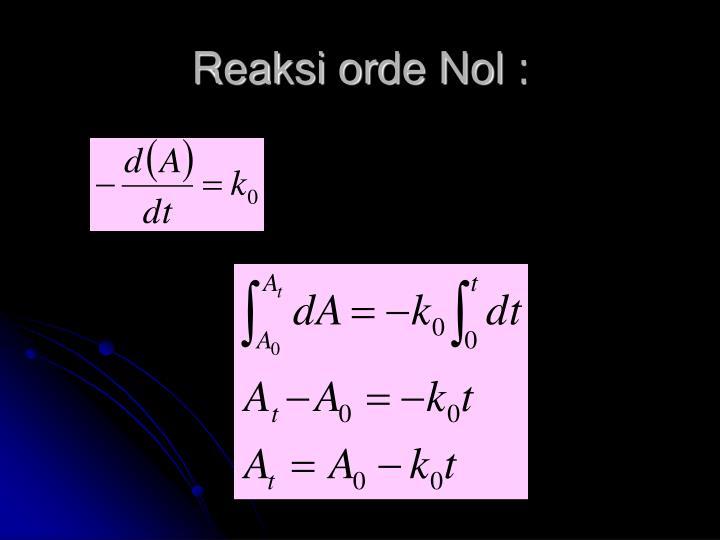 Reaksi orde Nol :